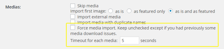 The force media import option within the importer plugin.