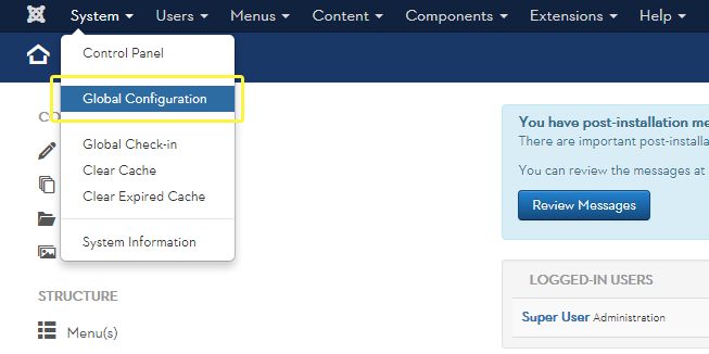 Joomla system drop-down menu leading to the Global Configuration page.