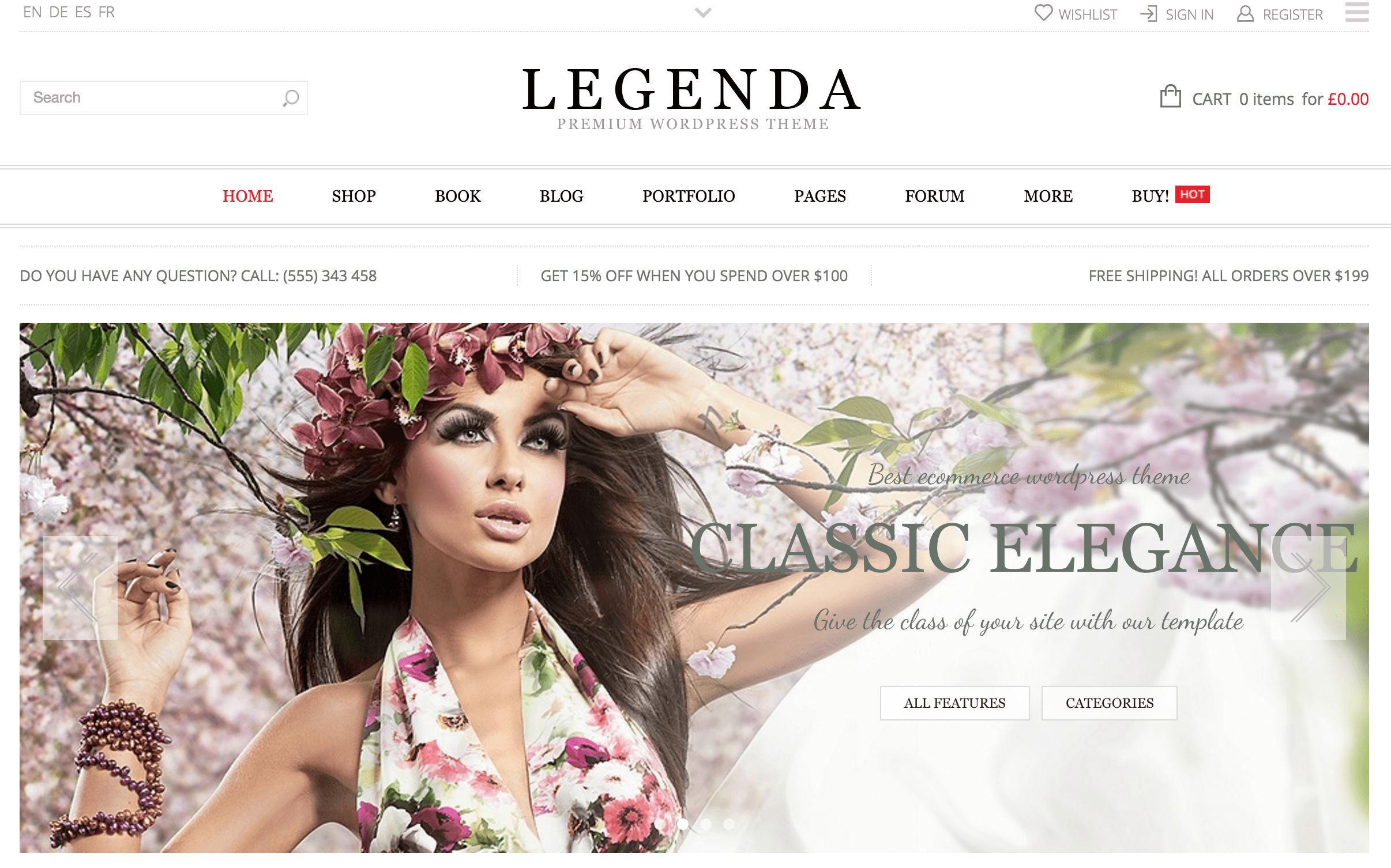 A screenshot of the Legenda theme.