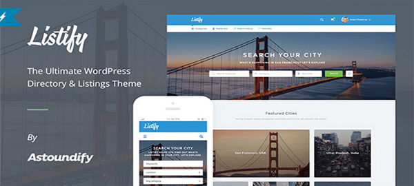 A screenshot of the official Listify header.