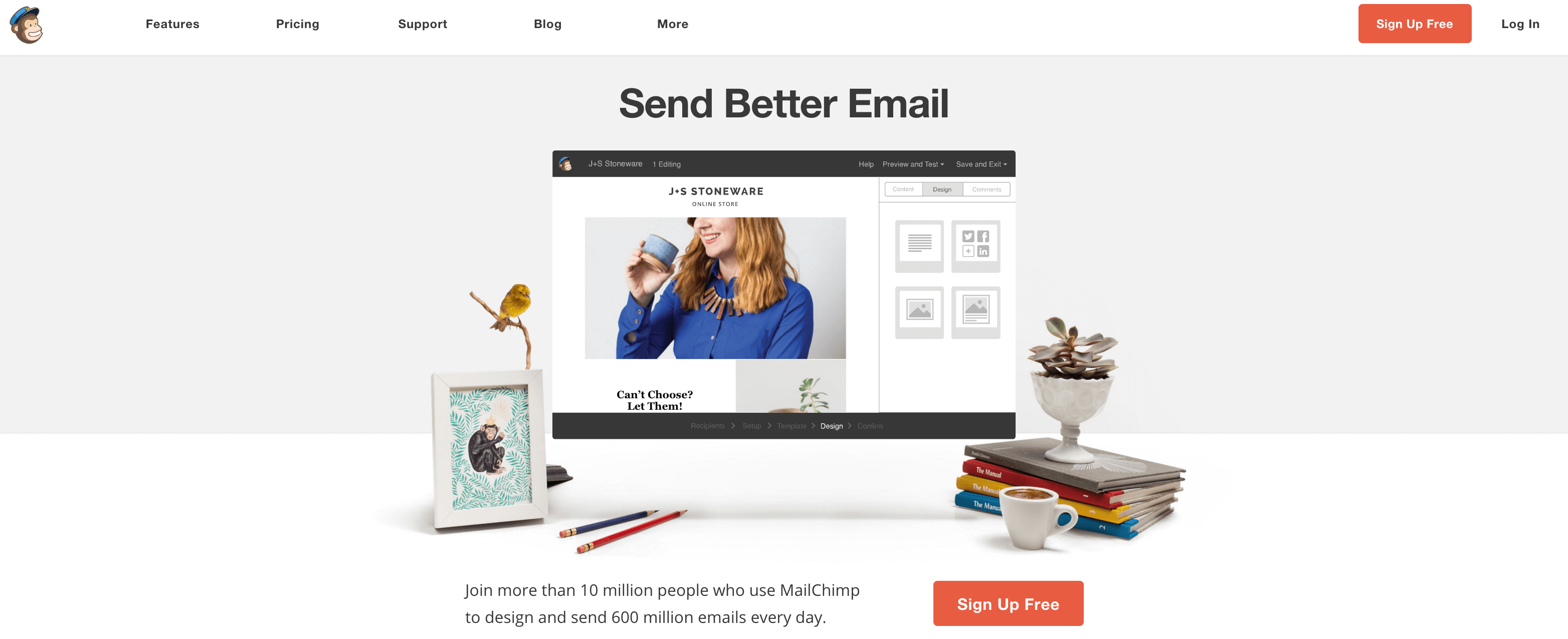 A screenshot of the Mailchimp homepage.