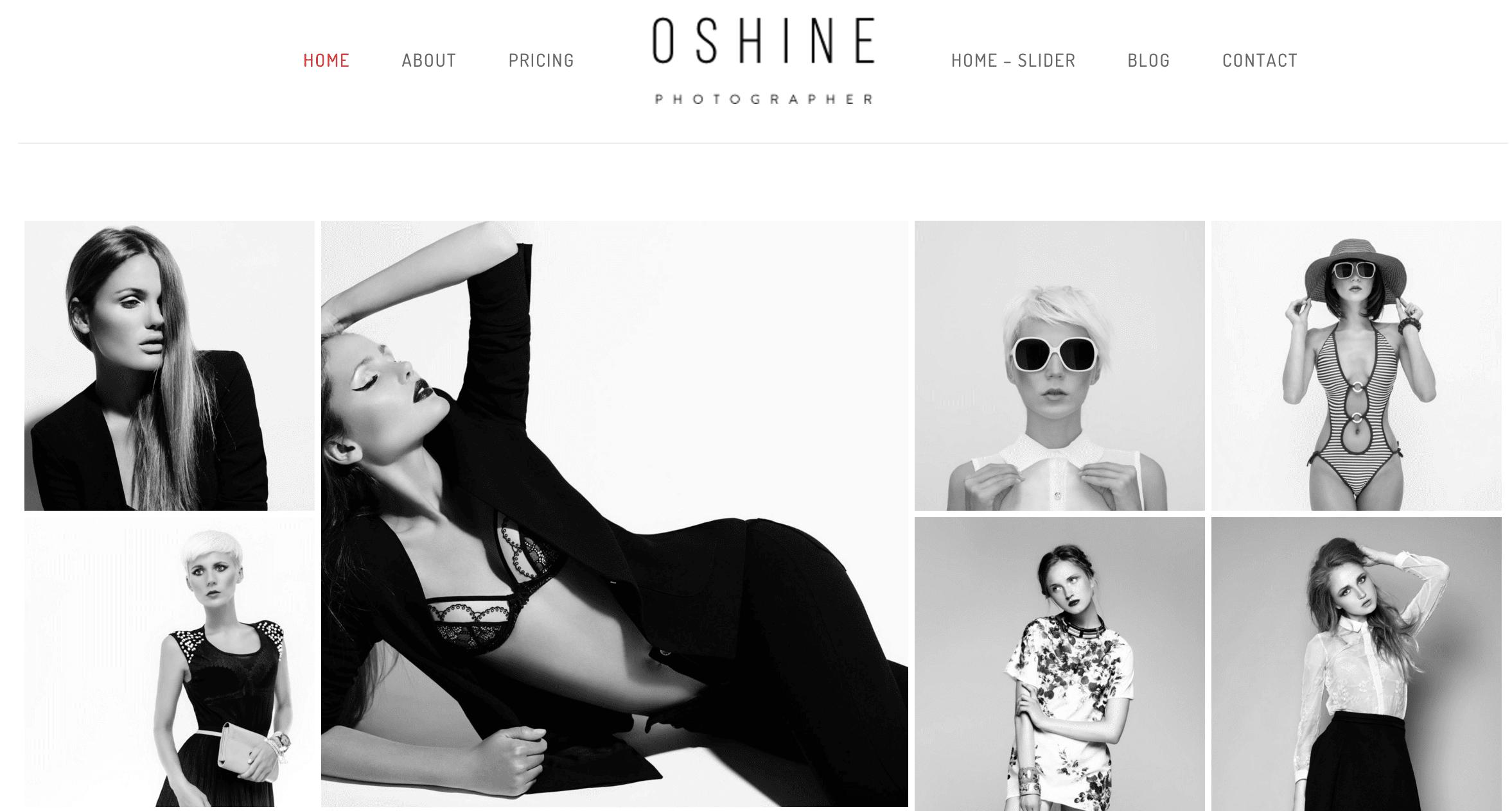 A screenshot of the Oshine theme.