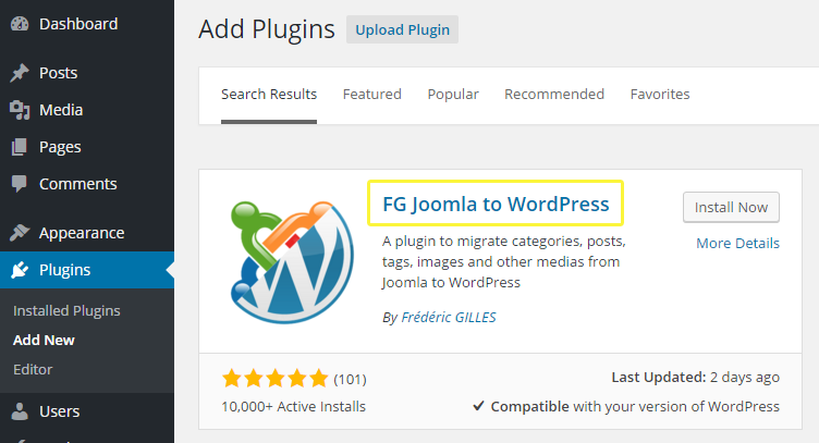 The FG Joomla to WordPress plugin's description box.