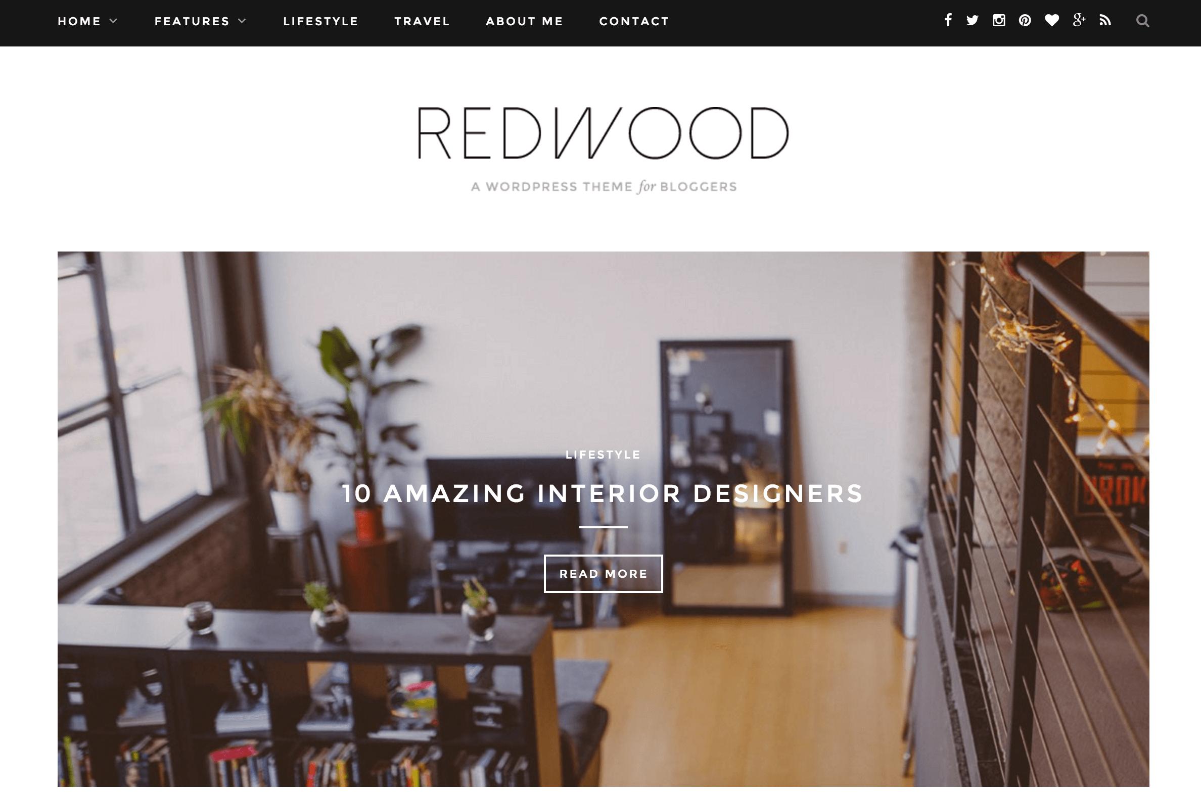 A screenshot of the Redwood theme.