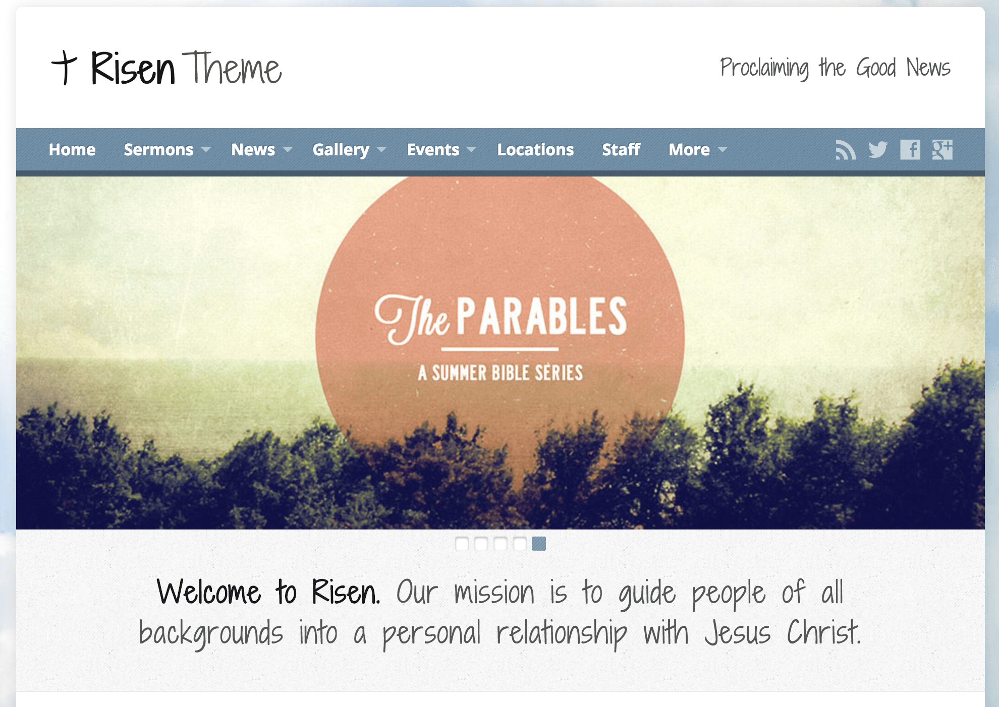 The Risen theme homepage