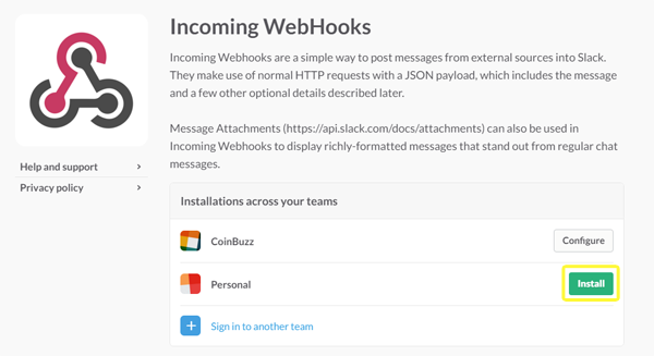 Slack's Incoming Webhooks screenshot.