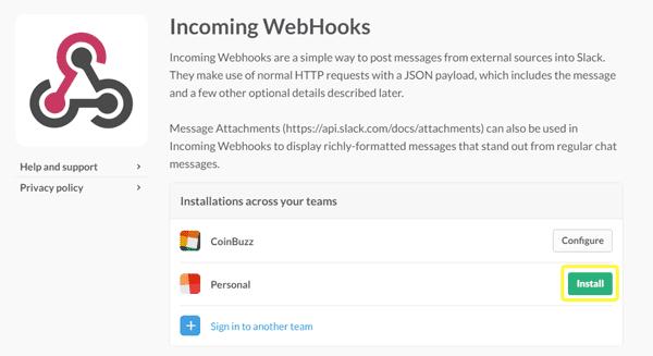 Slack's Incoming Webhooks screenshot.