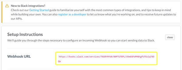 Slack's Webhook URL screenshot.