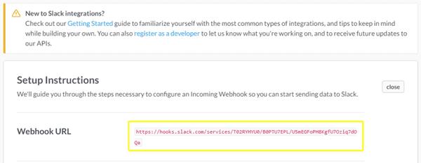 Slack's Webhook URL screenshot.