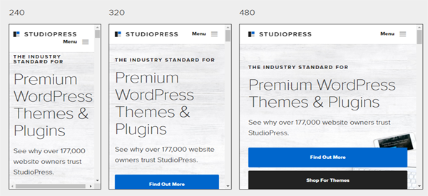 A screenshot of the official StudioPress homepage.