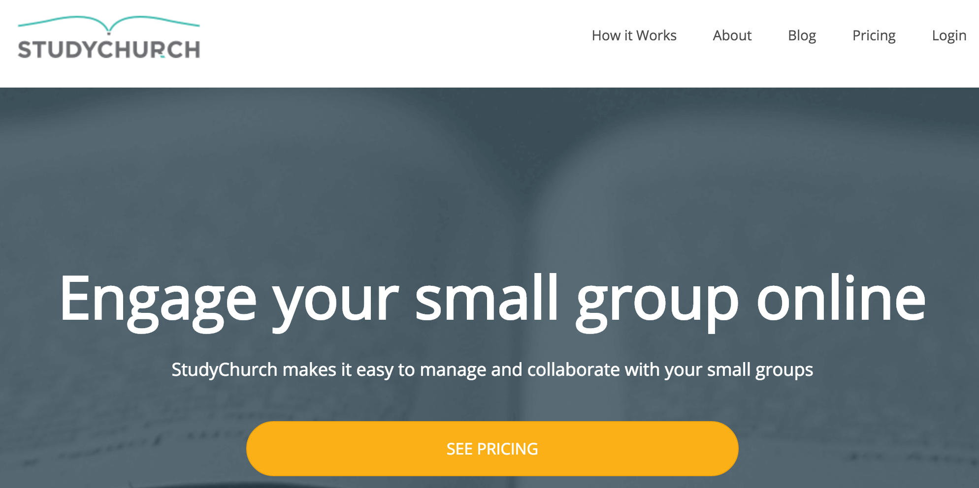 The StudyChurch homepage.