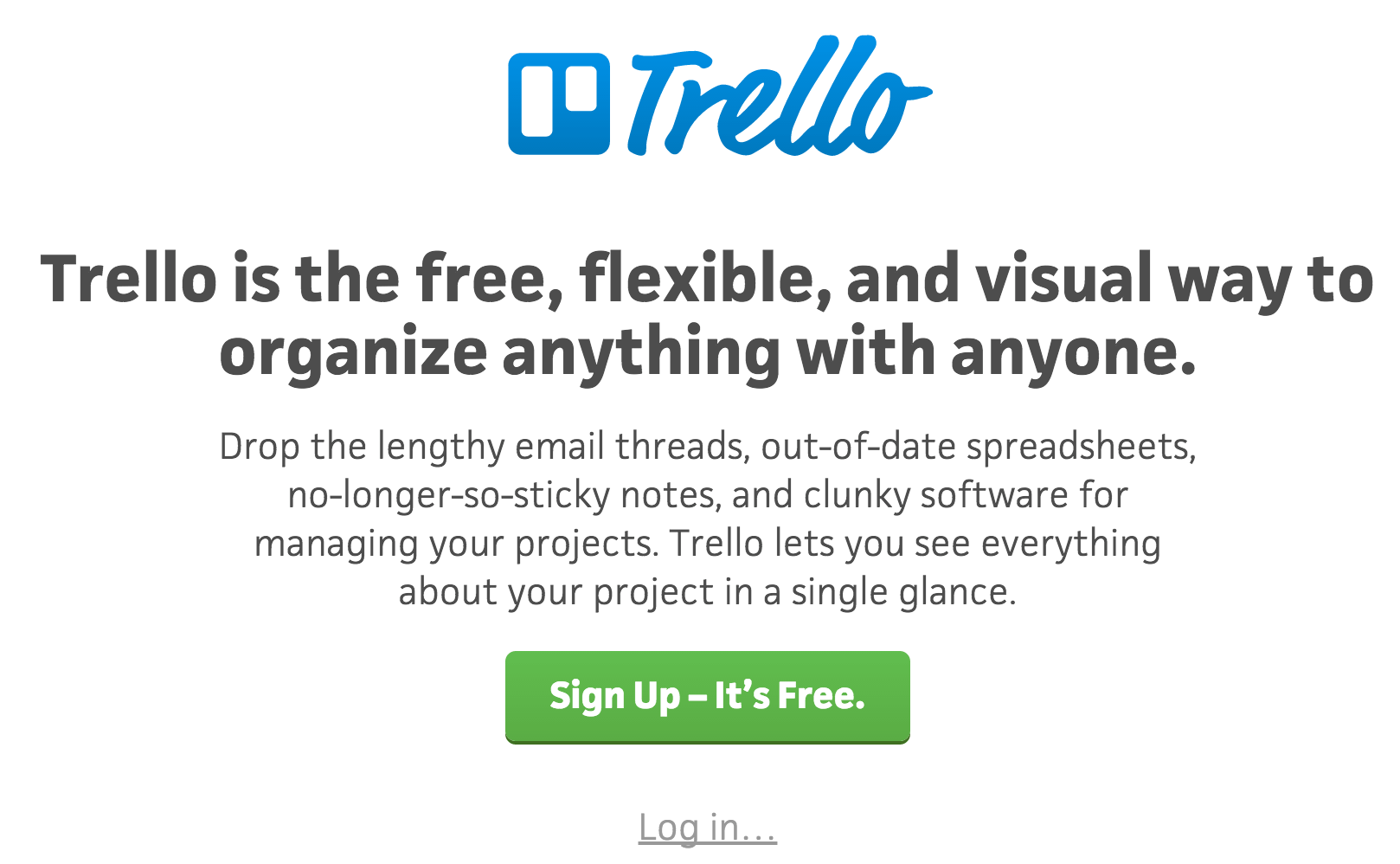 A screenshot of the Trello homepage.