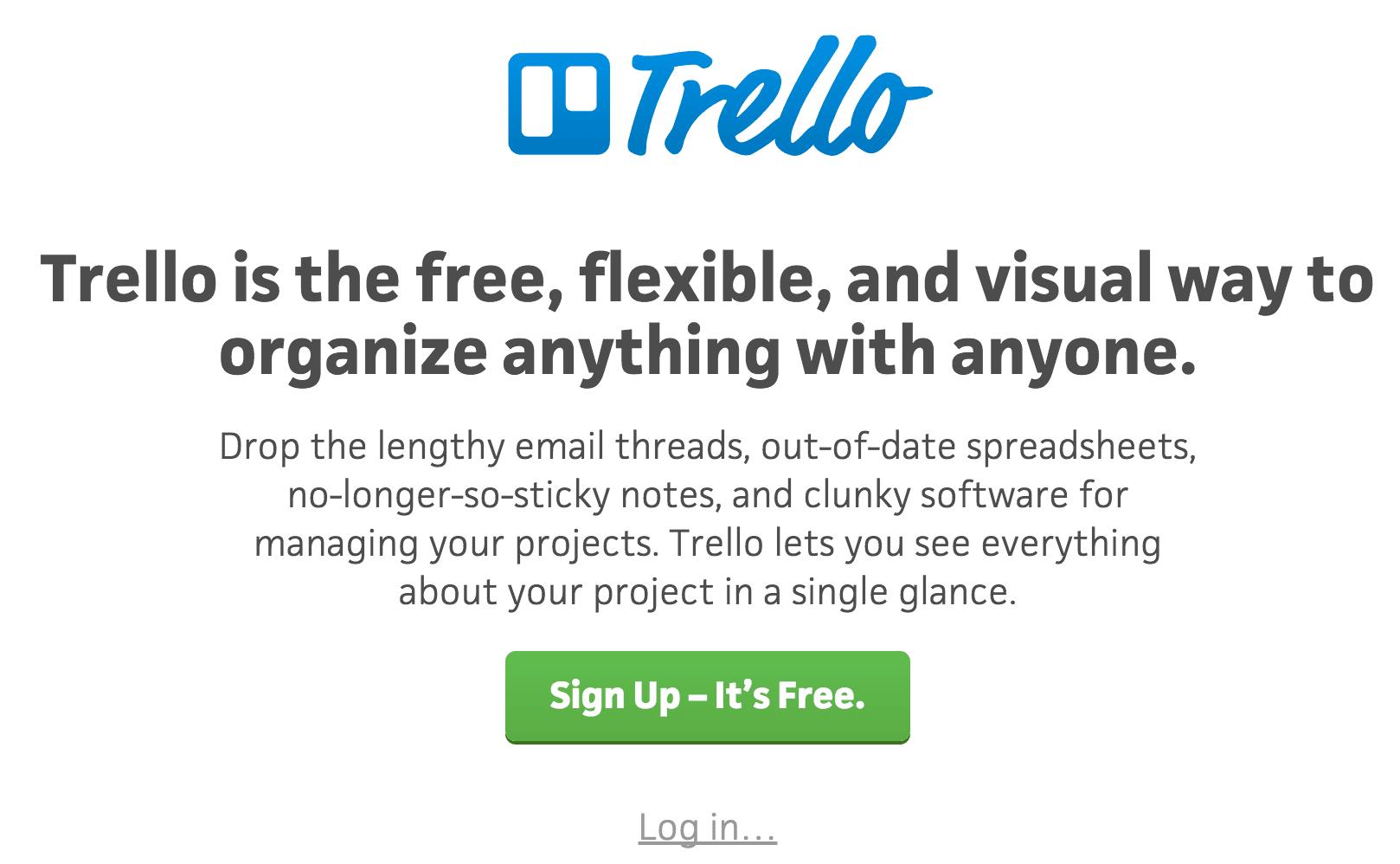 A screenshot of the Trello homepage.