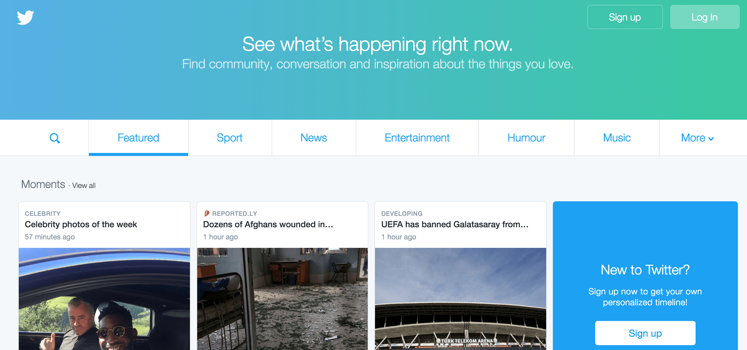 A screenshot of the Twitter homepage.
