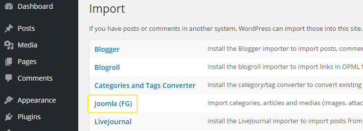 The Joomla import option amongst other WordPress tools.