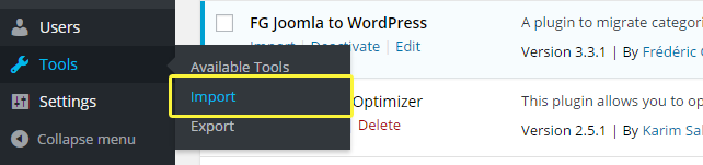 The Tools -> Import option on WordPress.