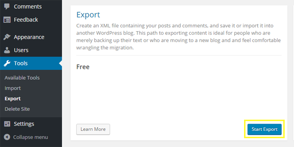 Screenshot of the Start Export button.