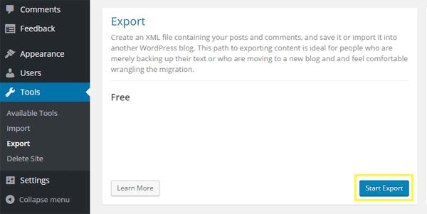 Screenshot of the Start Export button.
