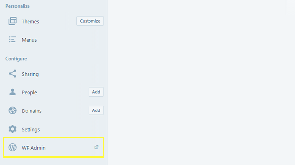 Screenshot of the WPAdmin button.