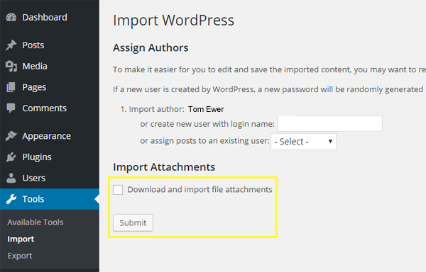 Screenshot of the Download and import file attachment and Submit options.