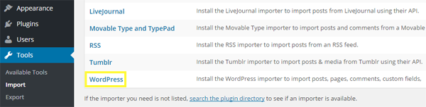 Screenshot of all the available importers within WordPress.org.