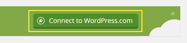 Screenshot of the Connect to WordPress.com button.