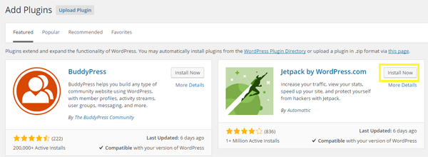 Selecting the Jetpack plugin for installation.