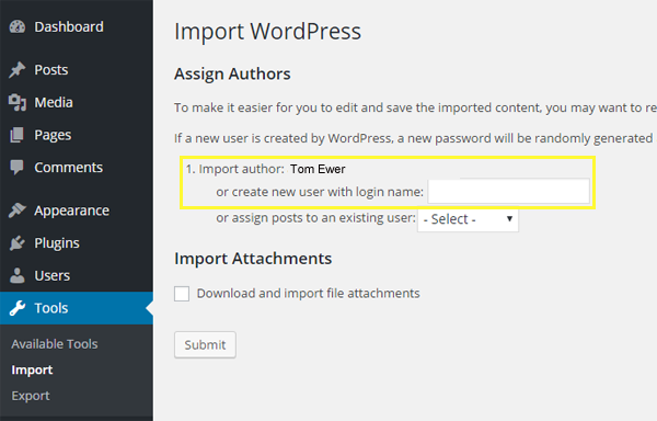 The first two choices on the page where you select which content gets imported.