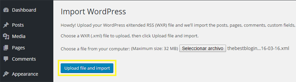 Screenshot of the Upload file and import button.
