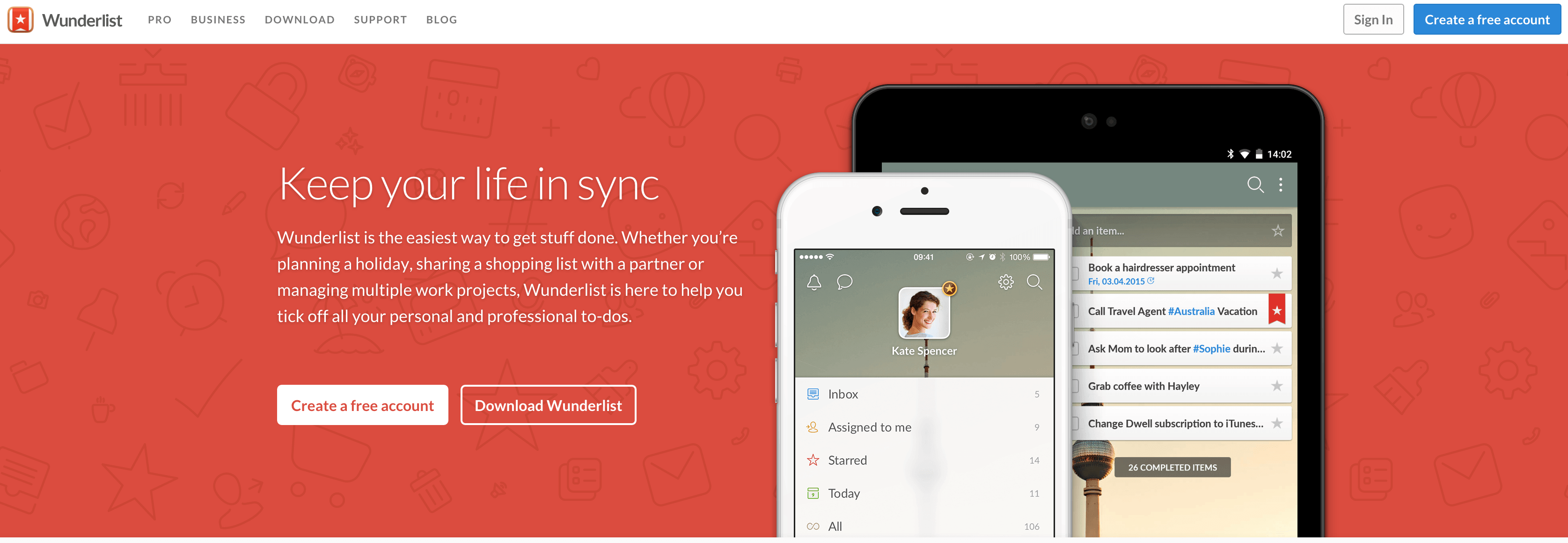 A screenshot of the Wunderlist homepage.