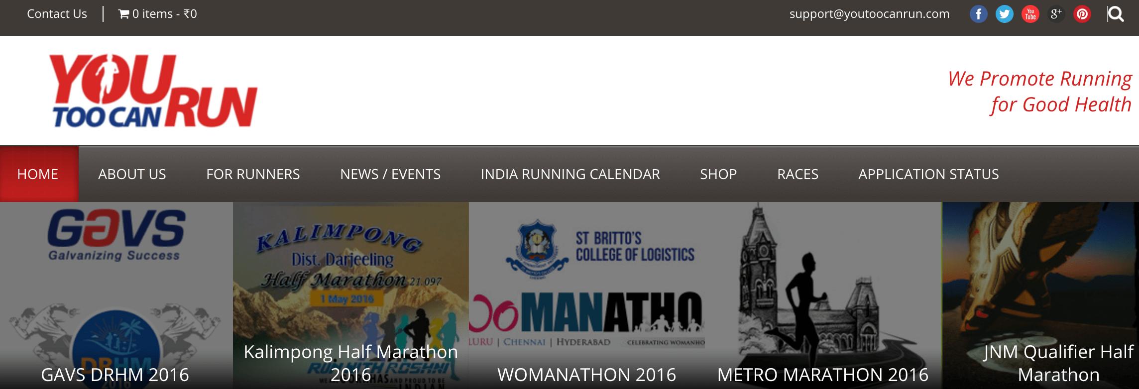 The YouTooCanRun homepage.