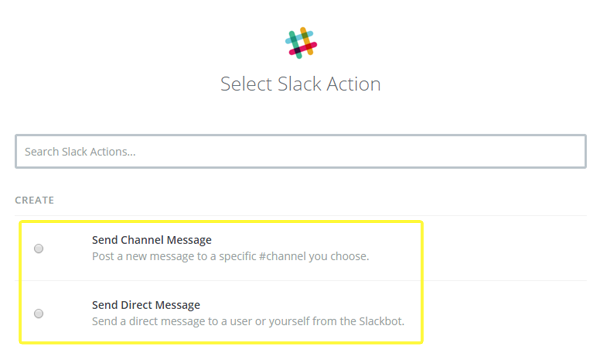 Choosing the Slack action from within Zapier.
