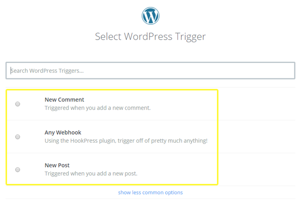 Choosing the trigger action from WordPress.