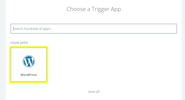 Choosing WordPress to be Zapier's trigger app.