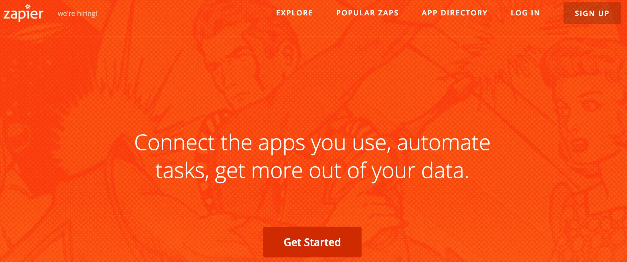 A screenshot of the Zapier homepage.