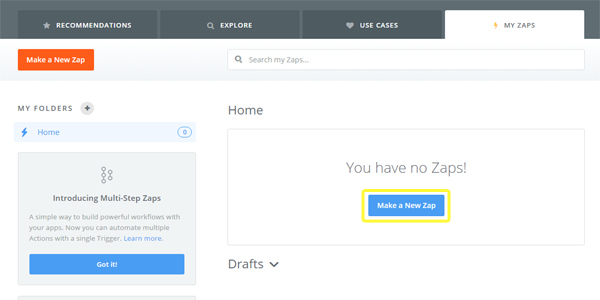 Zapier's Make new zap option.