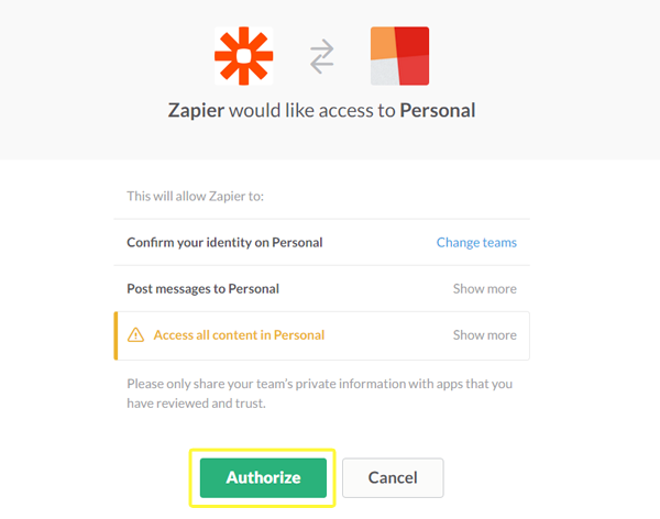 Authorizing Zapier to access your Slack account.