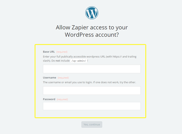 Testing your WordPress credentials.