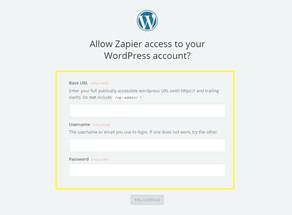 Testing your WordPress credentials.