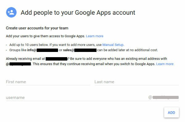 how to create google account with domain name
