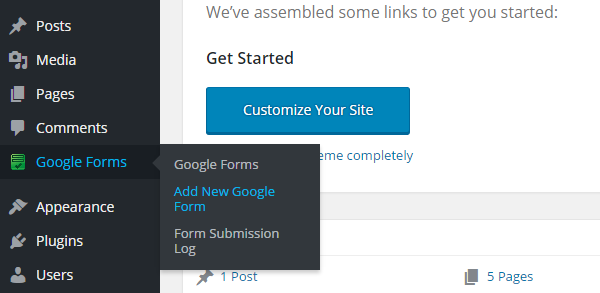 Google Forms Plugin Add New Form