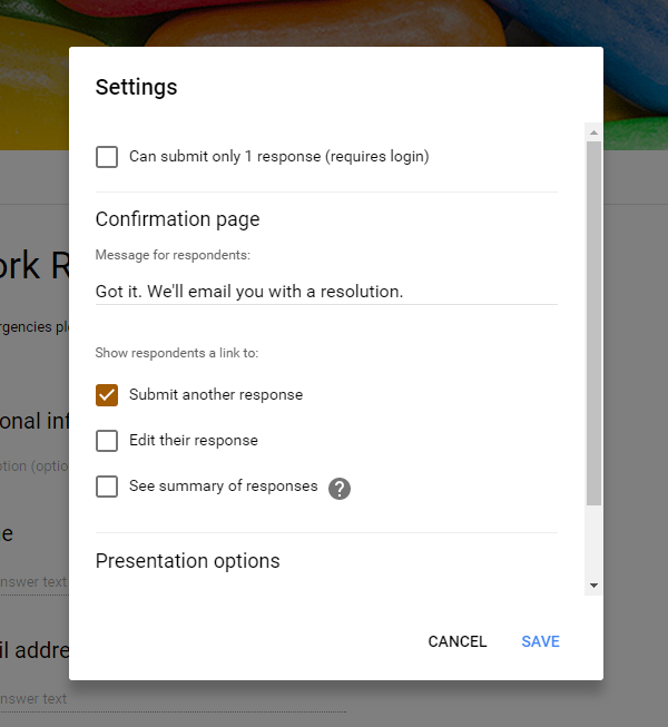 Configure your Google Form