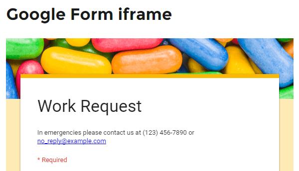 Google Forms iframe Published