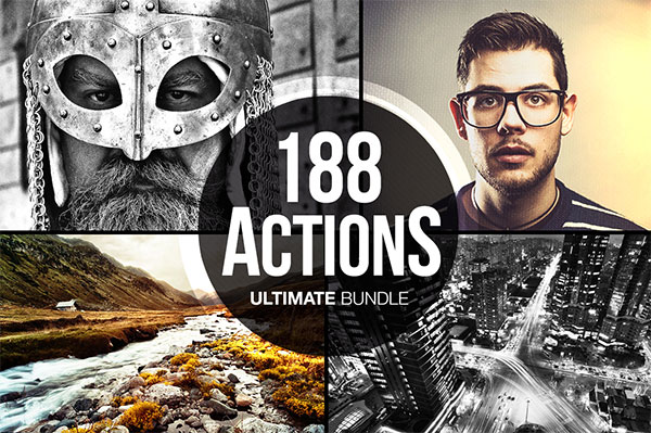 Upgrade your Photoshop Actions library with this 188-piece pack