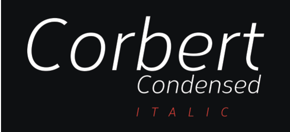 Screenshot of the Corbert Condensed Italic header.