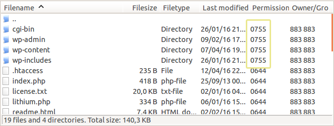 Screenshot of the file permission settings of several WordPress folders as seen in FileZilla.