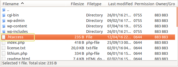 Screenshot of the .htaccess file as seen in FileZilla.