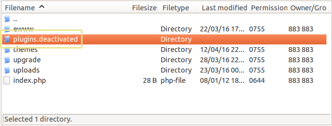 Screenshot of the modified plugins folder as seen in FileZilla.