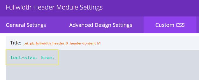 Screenshot of some custom CSS for the Divi Fullwidth Header module.
