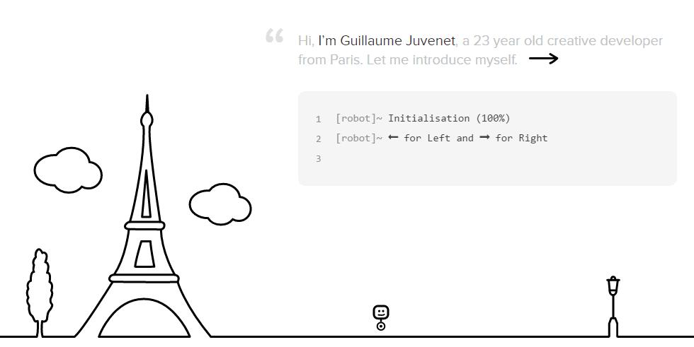 A screenshot of Guillaume Juvenet's homepage.